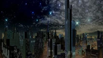 Fantastic city and UFO