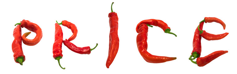 PRICE text composed of red chili peppers