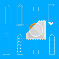 Contour vector icons for condoms