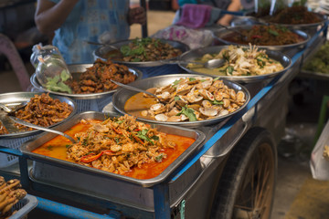 Ready-made Thai food in market.