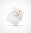 Abstract white cube background