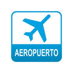 Etiqueta tipo app azul AEROPUERTO