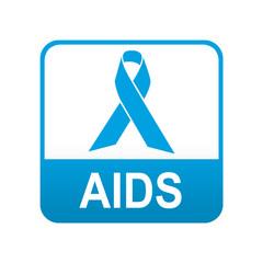 Etiqueta tipo app azul AIDS