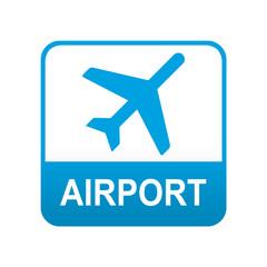 Etiqueta tipo app azul AIRPORT