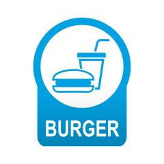 Etiqueta redonda azul BURGER