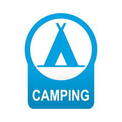 Etiqueta tipo app redonda azul CAMPING