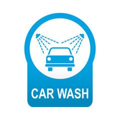 Etiqueta redonda azul CAR WASH