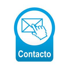 Etiqueta tipo app redonda azul Contacto