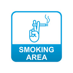 Etiqueta tipo app azul SMOKING AREA