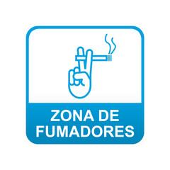 Etiqueta tipo app azul ZONA DE FUMADORES