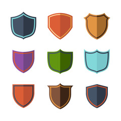 Crests flat design set over white background