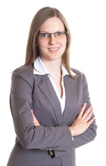 Saleswoman with eyeglasses and crossed arms in a grey jacket