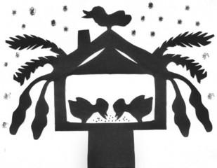 Scherenschnitt Vögel im Vogelhaus bei Schneefall