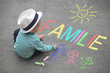 Leinwanddruck Bild - Kinderzeichnung mit Kreide - Familie
