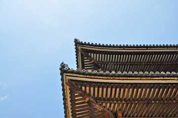 Architecture of the Japanese roof at Ninnaji temple in Kyoto