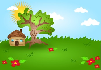 Cartoon landscape with wooden house