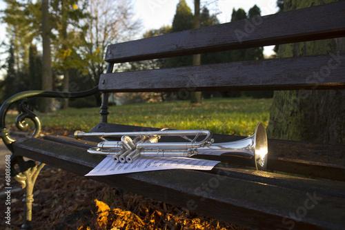 Trumpet on bench - 68086688
