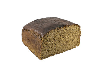 loaf of brown bread isolated against white