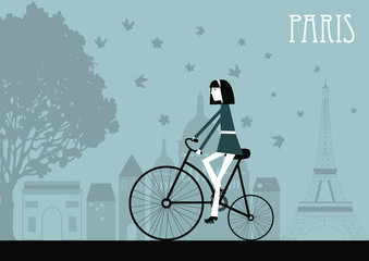 Woman on the bicycle in Paris. Vector