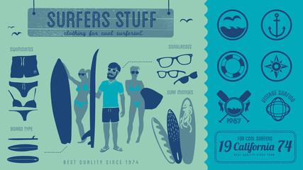 Surfing - surf design - vintage labels & illustration