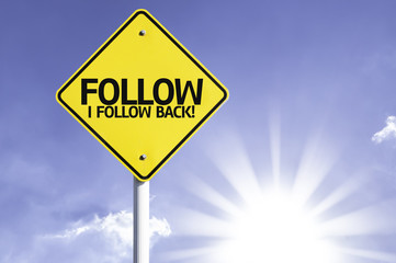 Follow, I Follow back road sign with sun background