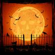 Orange Moon with skull