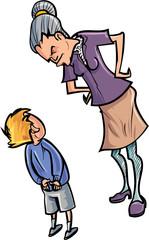 Cartoon teacher scolding a child