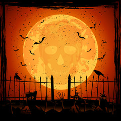 Orange Moon with skull