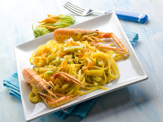 pasta with norway lobster zucchinis flower and saffron