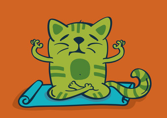 Green cartoon cat in yoga position. Vector illustration.
