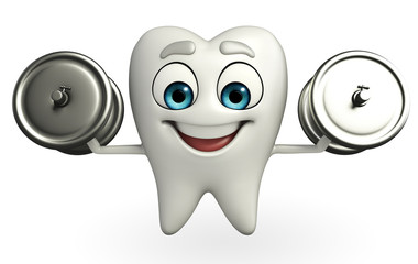 Teeth character with dumbbells