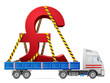 Transportation of pound symbol. Sign of money in back of truck