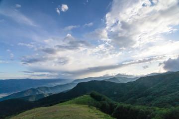 High mountains panorama on blue sky