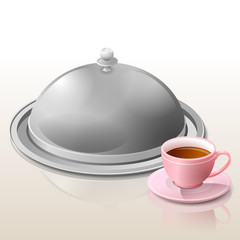 Metal cloche for meal and cup of tea (coffee)