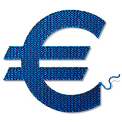 Euro symbol of knitted fabric isolated on white background