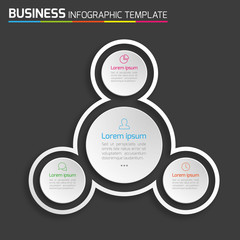 3-Step process infographics dark vector background