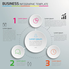 3-Step process infographics light vector background