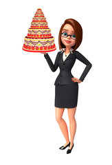 Young Business Woman with cake