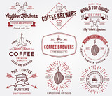 Fototapety Coffee badges and labels colored