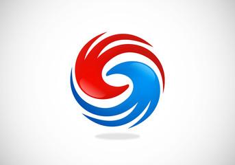 circle swirl hand vector logo