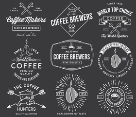 Coffee badges and labels white