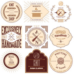 Set of vintage knitting labels, badges and design elements.