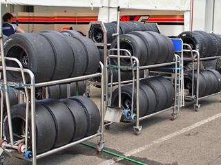 Formula tyres in teh paddock