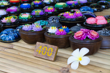 Soap carving flower and price tag in thai currency