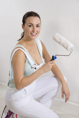 Attractive female painter decorator