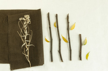 Natural materials: twigs and dry leaves on linen napkin