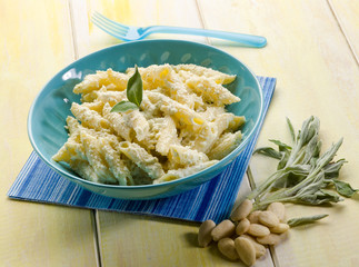 pasta with ricotta almond pesto and sage