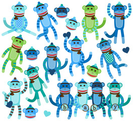 Collection of Boy Sock Monkey Vectors