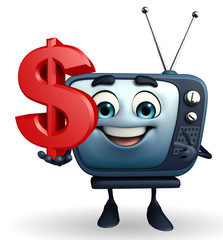 TV character with dollar sign