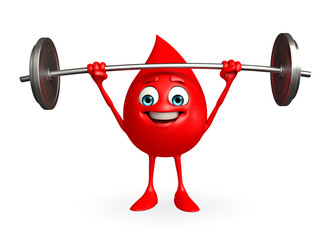 Blood Drop Character with dumbbells